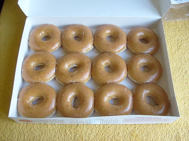 12 Krispy Kreme Donuts - CC licensed photo from Wikimedia Commons
