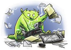 Computer gremlin breaking a computer.
