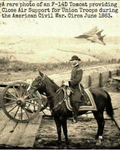 Photo of U.S. Grant atop a horse surveying the civil war battlefield with a Tomcat fighter flying low in the background