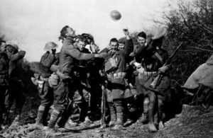 Soldiers celebrate end of WWI